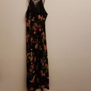 Hommage Dresses - Hommage Maxi dress black floral with bird s